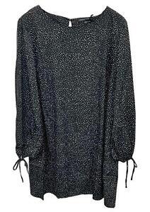 Simply Be Womens Tie Sleeve Round Neck Black Tunic Dot Dress Plus Size 14 - 32