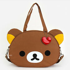 Cute Large Brown Rilakkuma Head Shoulder Tote Bag Handbag Messenger Crossbody