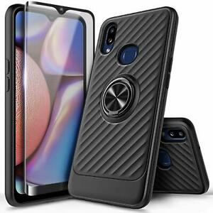 For Samsung Galaxy A10s / A20s Case, Ring Stand Phone Cover With Tempered Glass