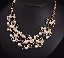 FASHION STATEMENT BIB PEARL RHINESTONE GOLD CHUNKY COLLAR PENDANT CHAIN NECKLACE