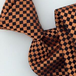 Salvatore Ferragamo Tie Checkered Gold Black Woven Necktie Italian Silk Ties NWT