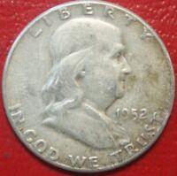1952 Franklin Half Dollar , Circulated , 90% Silver US Coin