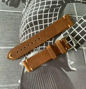 Bracelet montre cuir marron vintage / retro 18 / 19 / 20mm - Boucle acier NEUF