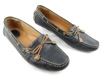 Clarks Artisan Dunbar Women's Navy Blue Leather Driving Loafers Size 9.5N