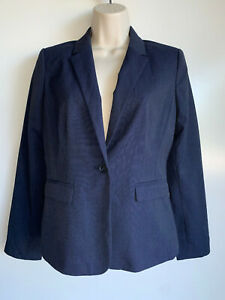NWT $159.99 ANN TAYLOR Factory Navy Blue Career Single Button Blazer Size 2P