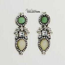 Boucles d'Oreilles Clip Pendant Vintage Vert Goutte Poire Soirée Mariage J1