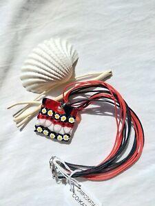 Antica Murrina Venezia Katia Murano Glass Red & Flowery Necklace Pendant