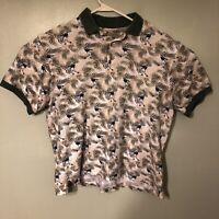 Munsingwear Mens Polo Shirt Sz L Lg Green Short Sleeve Cotton Golf Hawaiian