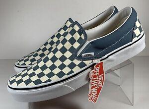 Vans Slip On Checkerboard Blue Classic Shoes Men's Size 9.5 Women 11 New 507452