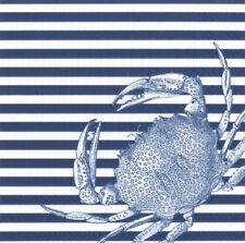 Crabs and Stripe Blue Sea Caspari paper lunch napkins 20 pack 33 cm sq 3 ply