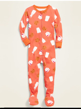 NWT GIRLS OLD NAVY FOOTED PAJAMAS PJS SIZE 18 24 months 4T MILK AND COOKIES fall