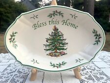 "SPODE Christmas Tree Bless This Home Holiday Serving Tray 11"" X 7"" NEW IN BOX"