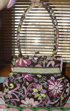 Vera Bradley Black Floral Large Purse Handbag Clasp Closing