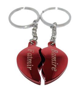 Partner-Schlüsselanhänger Herz + Gravur nach Wunsch Rot glänzend Liebesschloss