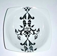 One (1) COVENTRY™ Antoinette Black & White Square Cereal Soup Small Serving Bowl