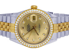 Rolex Datejust Two Tone 18K/ Steel 36MM Champagne Dial Diamond Watch 2.5 Ct