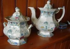 c1850 Morley & Co Hand Colored Green Cleopatra Transferware Teapot & Sugar Bowl
