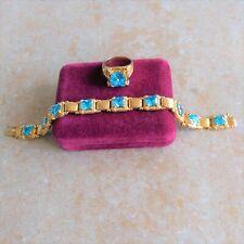 ~Designer~ 925 Sterling Silver Gold-Colored Baby Blue Topaz Bracelet & Ring Set