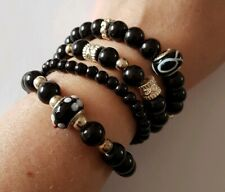 New 4 Black Silver Elasticated Glass Pearl Round Beaded Stretchy Bracelets