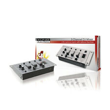 KONIG 3 CHANNEL MINI DJ MIXER + CROSSFADER KN-DJMIXER10U. QUALITY METAL UNIT