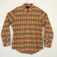 RALPH LAUREN Mens L Plaid Shirt Button Down CUSTOM FIT Orange & Blue Plaid