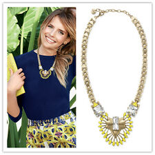Bohemian Yellow Floral Flower Crystal Rhinestone Alloy Choker Necklace Pendant