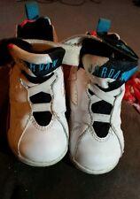 Girls size 6.5 C Jordans white black pink blue