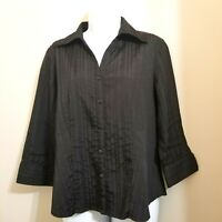 Como Womens Black Fitted Stretchy 3/4 Sleeve Blouse Size M
