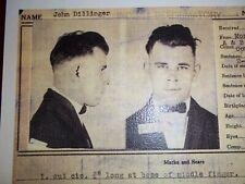 """John Herbert Dillinger Indiana Reformatory File Card Photo Copy"""