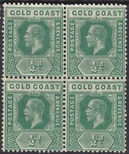 GOLD COAST SG71a ½d YELLOW/GREEN MINT BLOCK OF FOUR