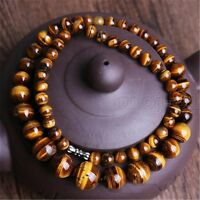 Natural 6-14mm Yellow Tiger's Eye Gemstone Round Beads Necklace 17.5'' Long