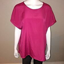 CJ Banks Blouse Plus Size 1X Womens Pink Short Sleeve Tee Top Chiffon