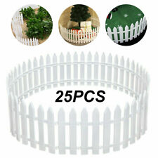 25x Picket Fence Garden Fencing Lawn Edging Home Yard Christmas Tree Fence White