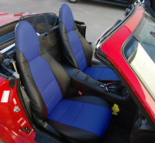 MAZDA MIATA 2001-2005 BLACK/BLUE S.LEATHER CUSTOM MADE FIT FRONT SEAT COVER