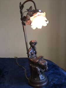 BRONZE EFFECT TALL TABLE LAMP  VINTAGE RETRO USED