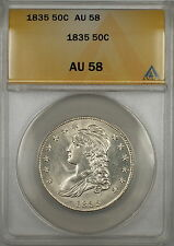 1835 Capped Bust Silver Half Dollar 50c ANACS AU-58 (Better Coin)