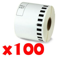 100 Roll 2-7/16 x 105ft 62mm DK-2205 Continuous Label Compatible Brother® QL-570