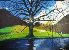 Phil Pierre - A Tree By A River - acrylic on board original art landscape signed