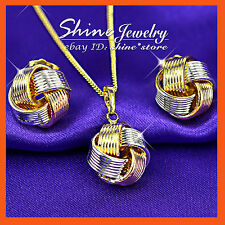 9K GOLD GF S64 LUCKY 3 TONE KONT TWIST SOLID NECKLACE EARRING MOTHER DAY GIFT