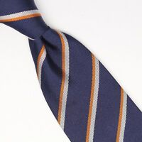 Gladson Mens Silk Necktie Navy Blue White Orange Repp Stripe Weave Woven Tie