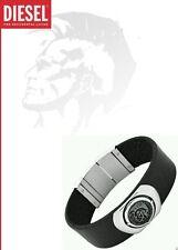DIESEL MEN'S LEATHER BRACELET BLACK ONLY THE BRAVE DX0799