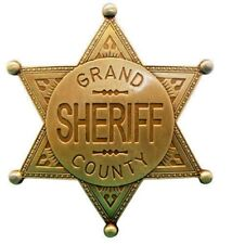 GOLD GRAND COUNTY SHERIFF BADGE WILD WEST US LAW ENFORCEMENT NEW/SEALED