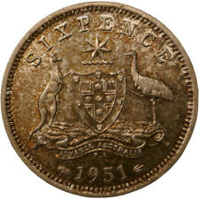 1951 PL Australia King George VI Sixpence Silver Coin