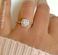 925 Sterling Silver Ladies Rose Gold Tone Wedding Engagement Band Ring