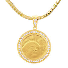 Gold Tone Iced Liberty 2 Side Medallion Pendant Miami Cuban Chain BCH 1095 G