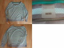 Women's Xersion L Petite Shirt L/S Light Blue & Grey Striped Workout Exercise