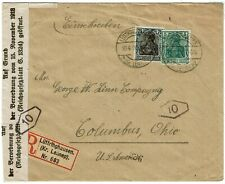 Germany 1920 Luttringhausen cancel on registered cover to the U.S., label