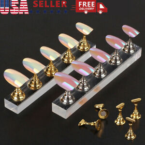 Nail Art Display Stand Holder Practice Training Magnetic Tool Flase Tip Manicure
