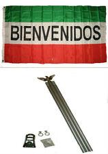 3x5 Advertising Bienvenidos Red White Green Flag Aluminum Pole Kit Set 3'x5'