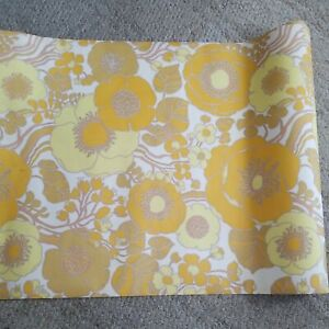 Groovy 1970s YELLOW & ORANGE Floral Vintage Wallpaper Roll as is